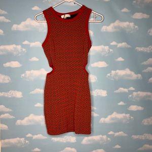 Ani ina- Red & Gray Diamond Patterned Dress Med